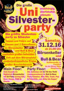 Feier auf der UNI Silvester Party Frankfurt ins neue Jahr
